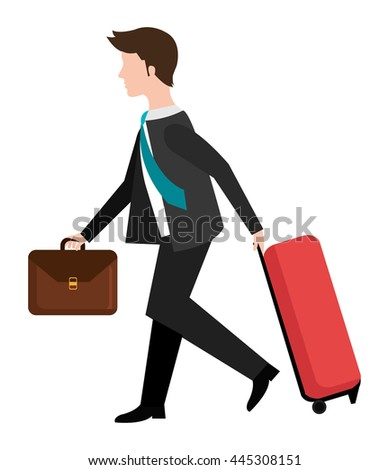 avatar business man with suit and tie holding red travel bag and brown suitcase side view over isolated background, vector illustration