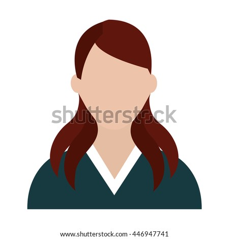 avatar business woman wearing colorful shirt front view over isolated background, business concept, vector illustration  - stock vector