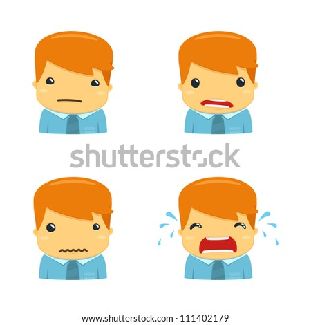 avatar cartoon manager in various poses - stock vector