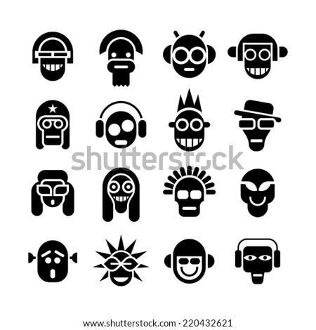 Avatar icon set. Black isolated image on white background. - stock vector