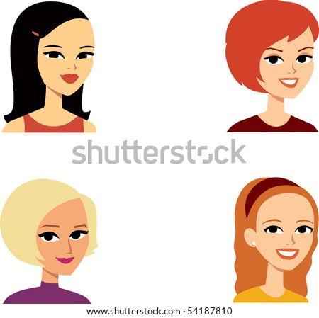 Avatar Icon SET 10 - Cartoon portrait clipart illustration Collection. - stock vector
