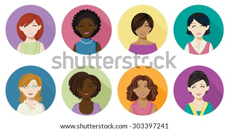 Avatar icons of women in a flat, long shadow style.Eight different women avatar icons in four skin tones and several different hair colors.