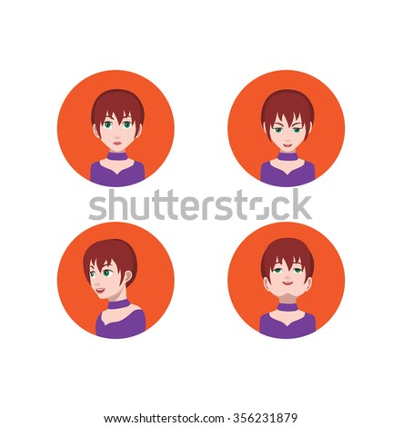 Avatar Icons With eyes nose and mouth Left,Up,Front,Right Down view