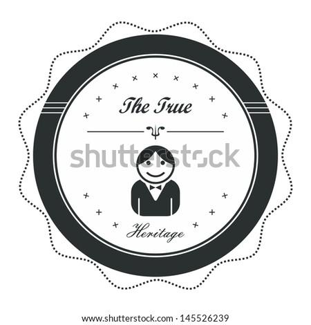 avatar label graphic art waiter - stock vector
