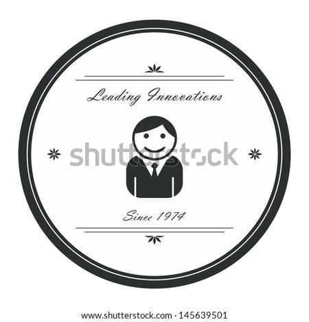 avatar label graphic art worker - stock vector