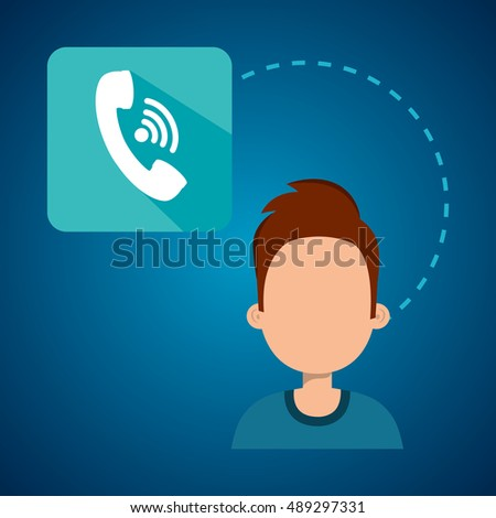 avatar man with telephone headset icon