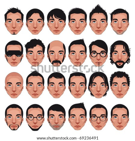 Avatar, men's portraits. Vector isolated characters with different hairstyles