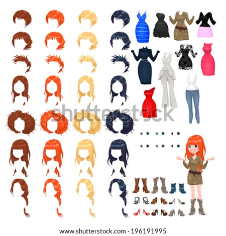 Avatar of a woman. Vector illustration, isolated objects. 7 hairstyles with 4 colors each one, 10 different dresses, 6 eyes colors, 9 shoes. - stock vector
