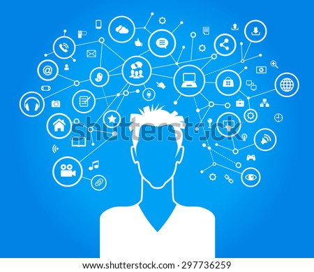 Avatar of men surrounded by abstract network and interface icons - stock vector