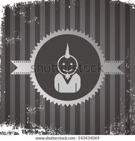avatar portrait icon vintage grungy punk guy - stock vector