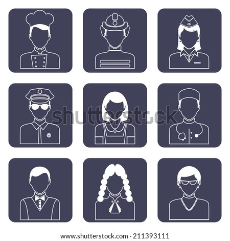 Avatar professions outline icons set of doctor firefighter judge pilot isolated vector illustration - stock vector