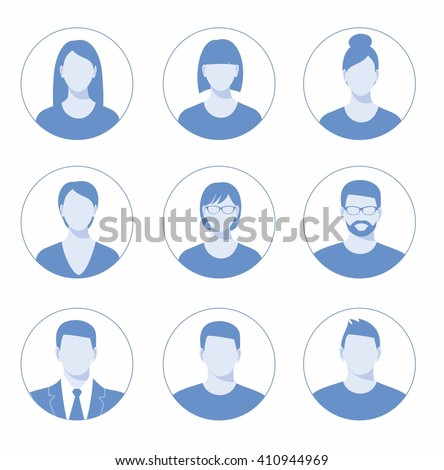 Avatar profile icon set including male and female.  - stock vector