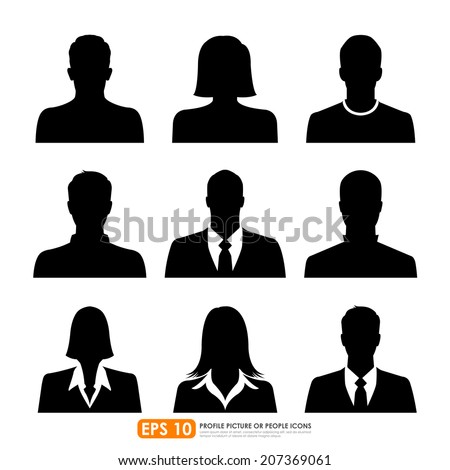 Avatar profile picture icon set including male, female & businesspeople on white background - stock vector