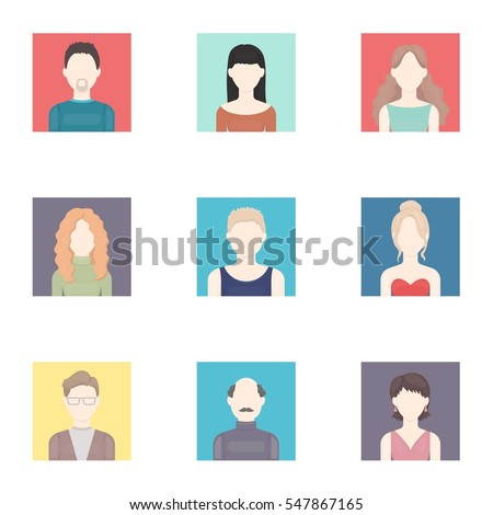 Avatar set icons in cartoon style. Big collection of avatar vector symbol stock illustration