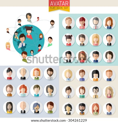 Avatar set, people icons and logo in flat style with faces. Vector women, men character connected. Easy editable vector for You design  - stock vector