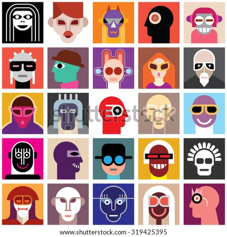 Avatar set. People Wearing Masks. Collage of a different people portraits. Seamless wallpaper. - stock vector