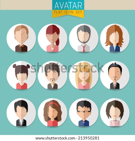 Avatar Social Network stylish Set of girls and guys and women and men connected. Vector flat design illustration easy editable for Your design. - stock vector