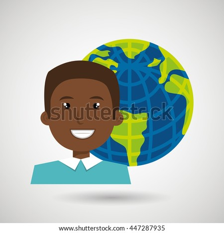 avatar with planet earth isolated icon design, vector illustration  graphic  - stock vector