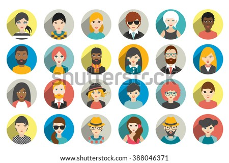 Avatar, woman, man heads. People vector shape heads different nationality in flat style.  - stock vector