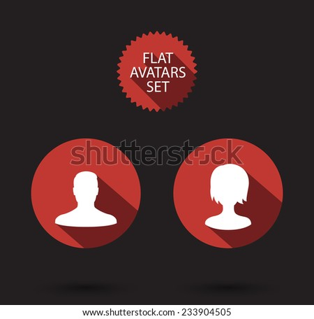avatars flat set with long shadows vector illustration, eps10, easy to edit - stock vector