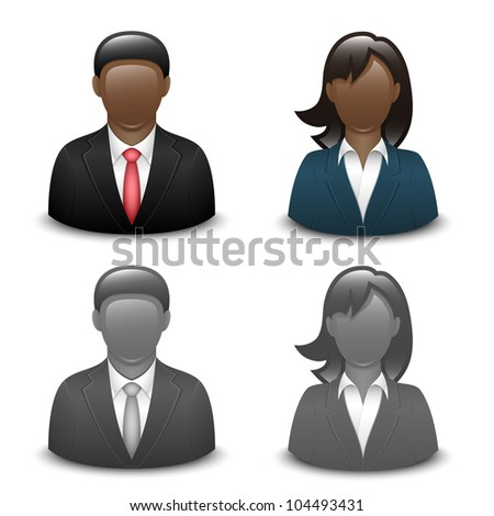 Avatars of black male and female in business suits. Vector - stock vector
