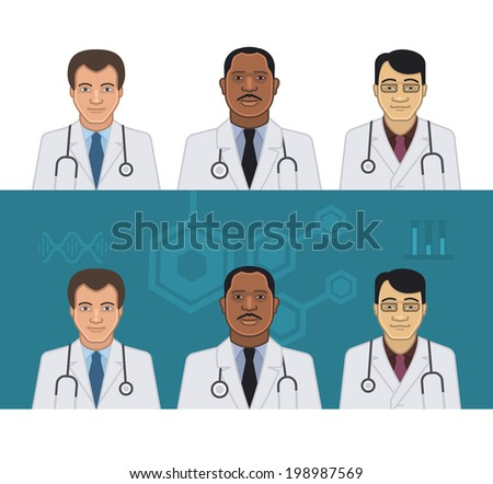 Avatars of doctors of different nationalities on light and dark background - stock vector