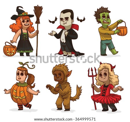 aVector cartoon image of seven children in variety of Halloween costumes: witch, Dracula, zombie, pumpkin, devil and werewolf on a white background. Holiday, Halloween. Vector illustration. - stock vector