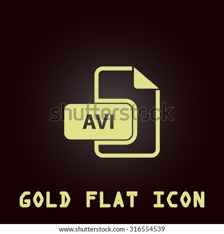 AVI video file extension. Gold flat vector icon. Symbol for web and mobile applications for use as logo, pictogram, infographic element - stock vector