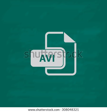 AVI video file extension. Icon. Imitation draw with white chalk on green chalkboard. Flat Pictogram and School board background. Vector illustration symbol - stock vector