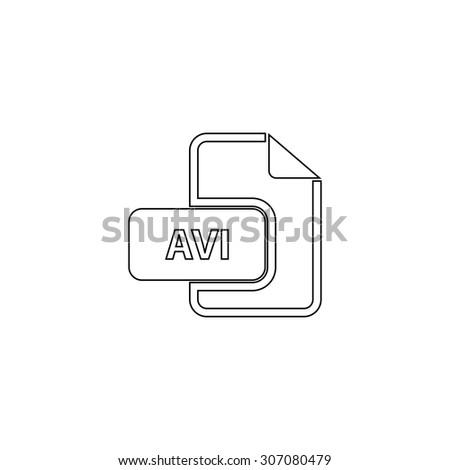 AVI video file extension. Outline black simple vector pictogram - stock vector