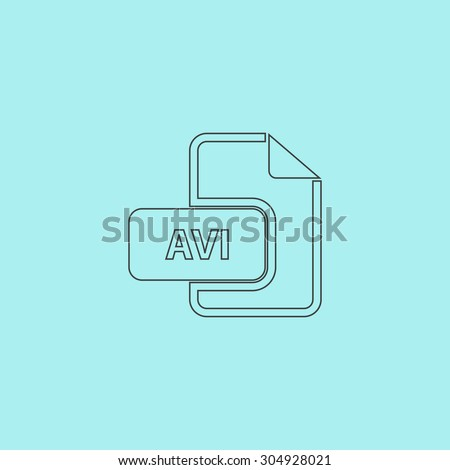 AVI video file extension. Simple outline flat vector icon isolated on blue background - stock vector
