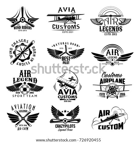 Avia customs and retro aviation symbols of airplane propeller and aircraft wings. Vector isolated icons and badges of vintage airscrew for aviation legend or best pilot and wind chasers sport team