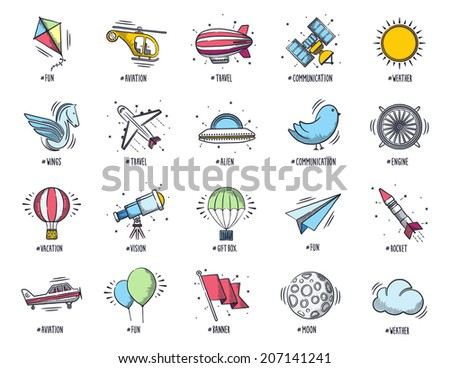 Aviation and travel icon set. Vector doodle illustrations. - stock vector