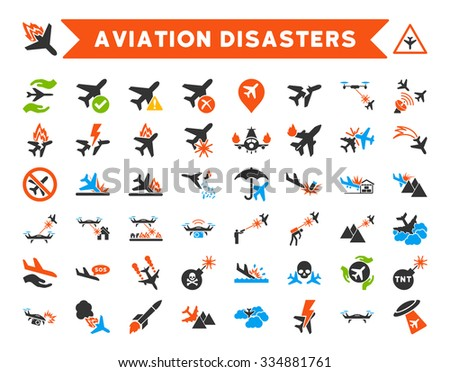 Aviation Disasters Vector Icon Set. Here are airplane crashes, terror drones, military attacks, plane tests. - stock vector