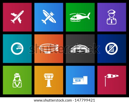 Aviation icons in Metro style - stock vector