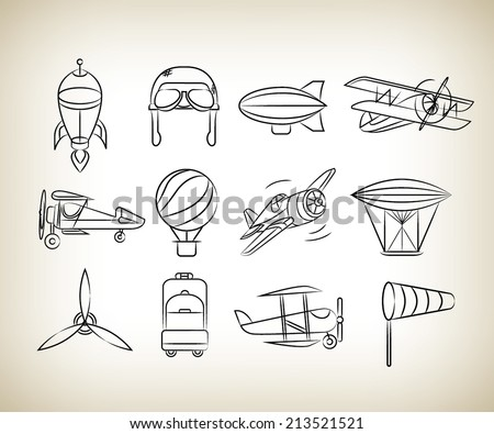aviation icons set, sketch icons - stock vector