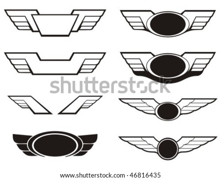 Aviation insignia wing set. Vector graphic elements. - stock vector