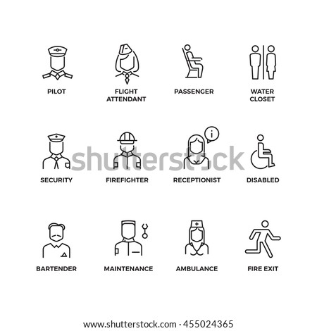 Aviation staff linear vector icons. Pilot, passenger, stewardess, security officer outline symbols. Illustration staff for aviation stewardess and nurse, Line set of icon for airport - stock vector