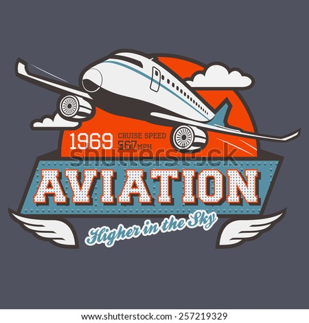 Aviation t-shirt illustration label with airplane  - stock vector