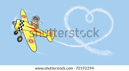 Aviator in love.Pilot by the plane draws heart in the sky - stock vector