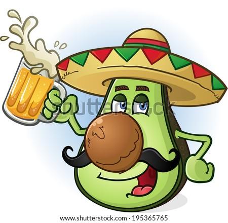 Avocado Mexican Cartoon Character Drinking Beer - stock vector
