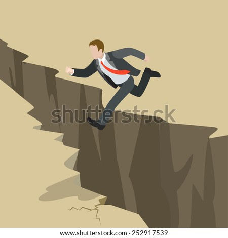 Avoid business problem trouble overcome obstacle crisis risk concept flat 3d web isometric infographic vector. Businessman jump over earth ground crack rift. Creative people collection. - stock vector