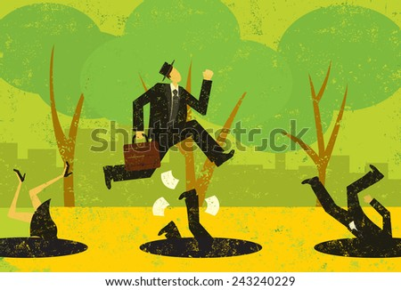 Avoiding Business Pitfalls A businessman jumping over pitfalls while others fall into them. The people and the background are on separately labeled layers. - stock vector