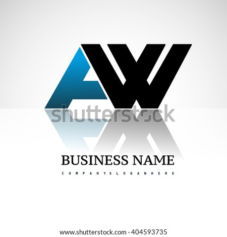 AW company linked letter logo icon blue and black - stock vector