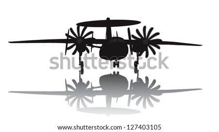 Awacs aircraft take off. Vector silhouette with reflection - stock vector