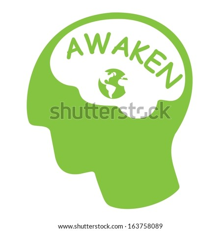 awaken ecology concept, green silhouette head with word green and earth  - stock vector