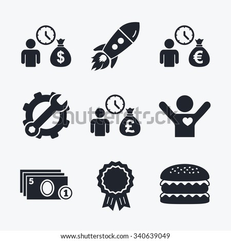Award achievement, spanner and cog, startup rocket and burger. Bank loans icons. Cash money bag symbols. Borrow money sign. Get Dollar money fast. Flat icons. - stock vector