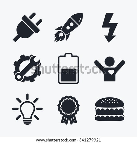Award achievement, spanner and cog, startup rocket and burger. Electric plug icon. Light lamp and battery half symbols. Low electricity and idea signs. Flat icons. - stock vector