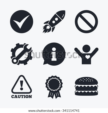 Award achievement, spanner and cog, startup rocket and burger. Information icons. Stop prohibition and attention caution signs. Approved check mark symbol. Flat icons. - stock vector