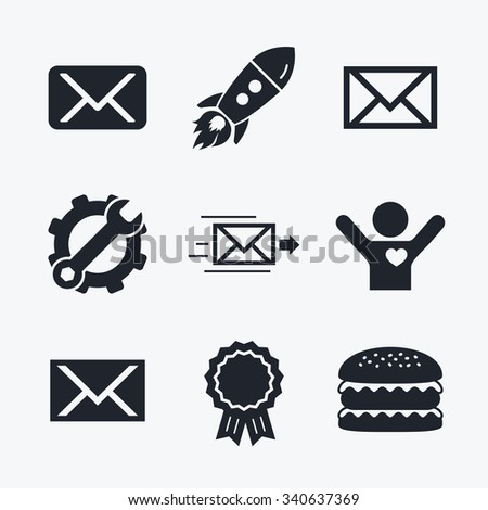 Award achievement, spanner and cog, startup rocket and burger. Mail envelope icons. Message delivery symbol. Post office letter signs. Flat icons. - stock vector